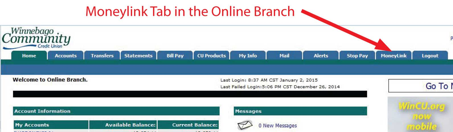 Moneylink Tab in the Online Branch